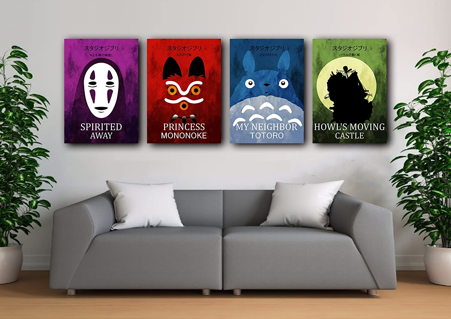 Minimalist Ghibli Anime Poster set, Studio Ghibli prints, Anime ghibli home decor, Mononoke poster, Totoro print, Spirited away poster, All Prints avialable in 9 SIZES and 3 type of MATERIALS