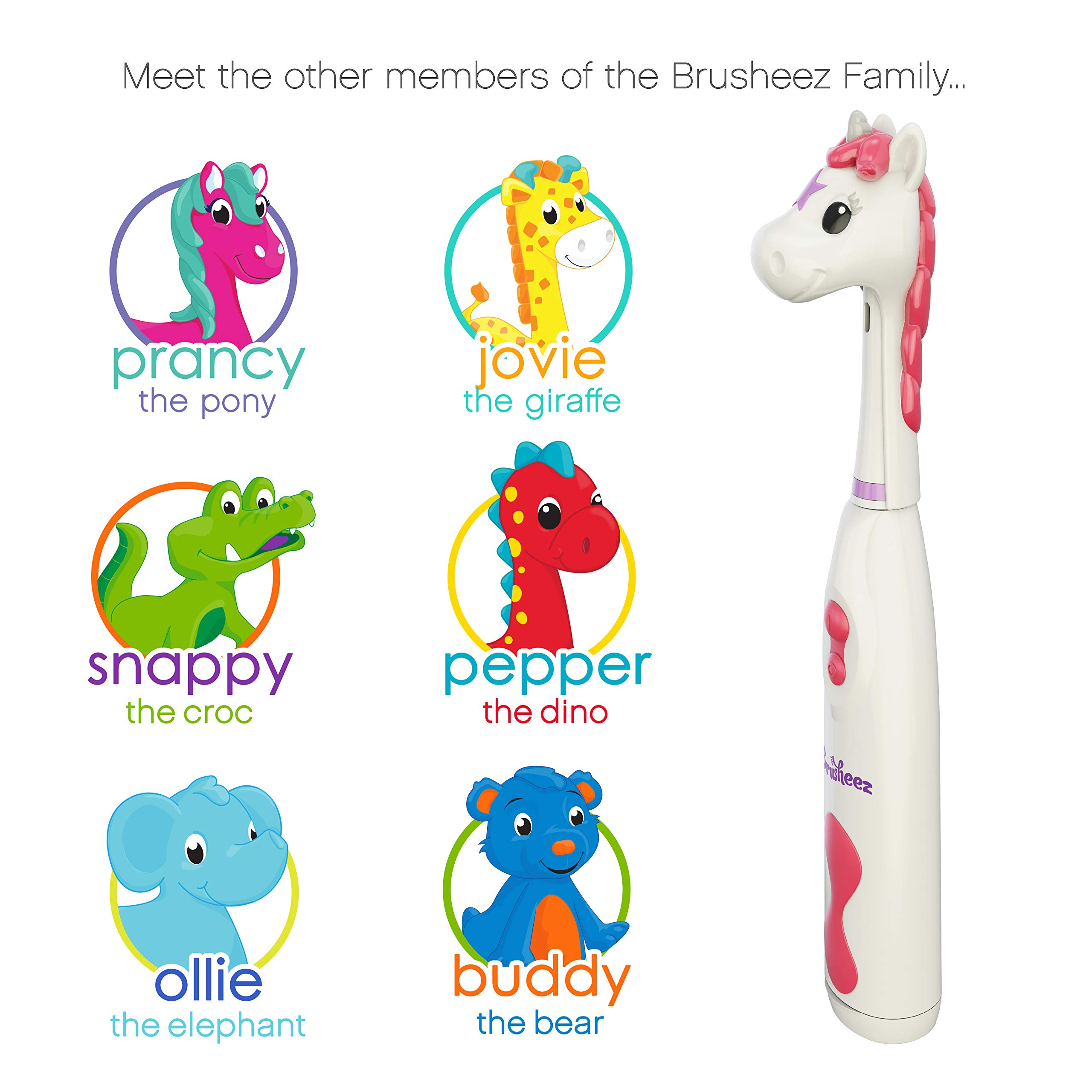 Brusheez Kid's Electric Toothbrush Set - Sparkle the Unicorn - New & Improved with Softer Bristles, Easy-Press Power Button, 2 Brush Heads, Cute Animal Cover, Sand Timer, Rinse Cup & Storage Base by Brusheez (Image #5)