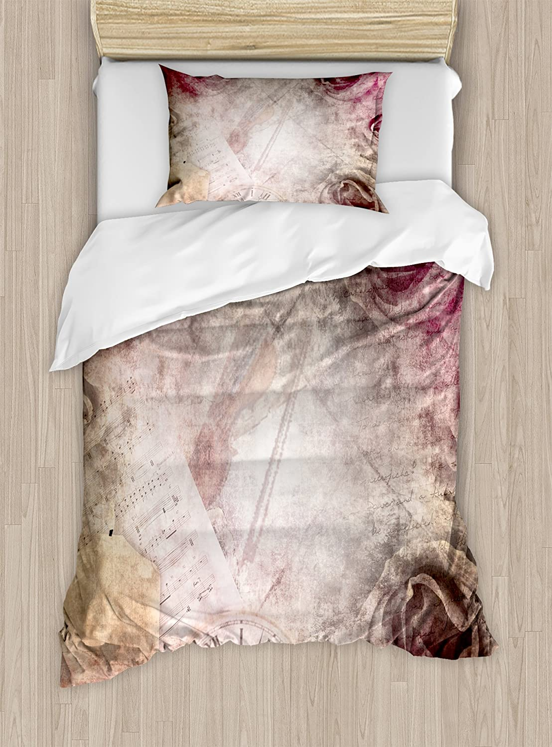 Ambesonne Rose Duvet Cover Set, Grunge Style Vintage Inspired Rose Design on Retro Elements Violin Time Music, Decorative 2 Piece Bedding Set with 1 Pillow Sham, Twin Size, Beige Pink