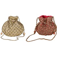 Ruhi's Creations® Silk Golden and Red Ethnic Bridal Potli Bag for Women (Combo of 2)