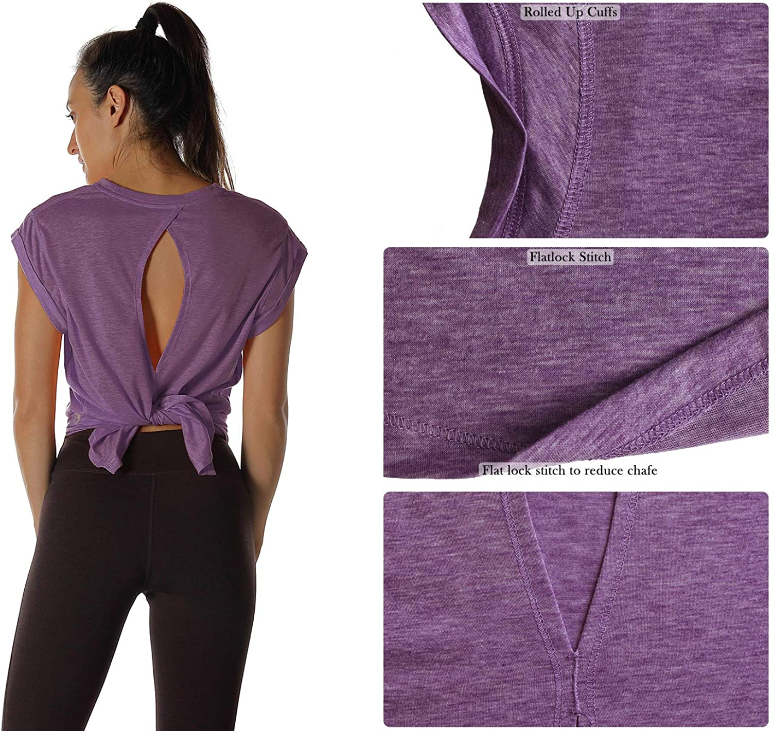 icyzone Open Back Workout Top Shirts Yoga T-Shirts Activewear Exercise Tops for Women
