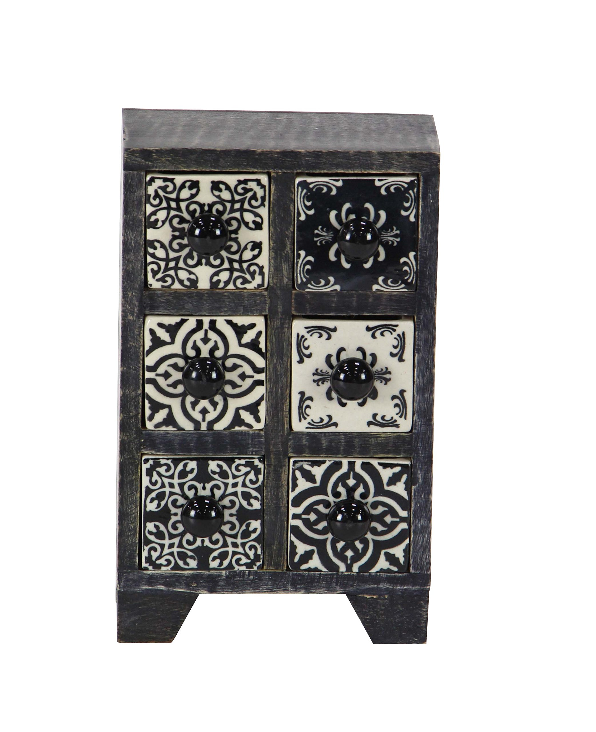 Deco 79 86376 Jewelry Box, Black/White