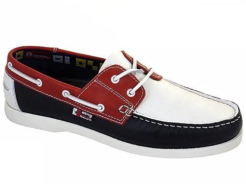 Beppi Portugués en piel Naúticos / Mocasines para hombre Rosso/Bianco/Azul: Amazon.es: Zapatos y complementos