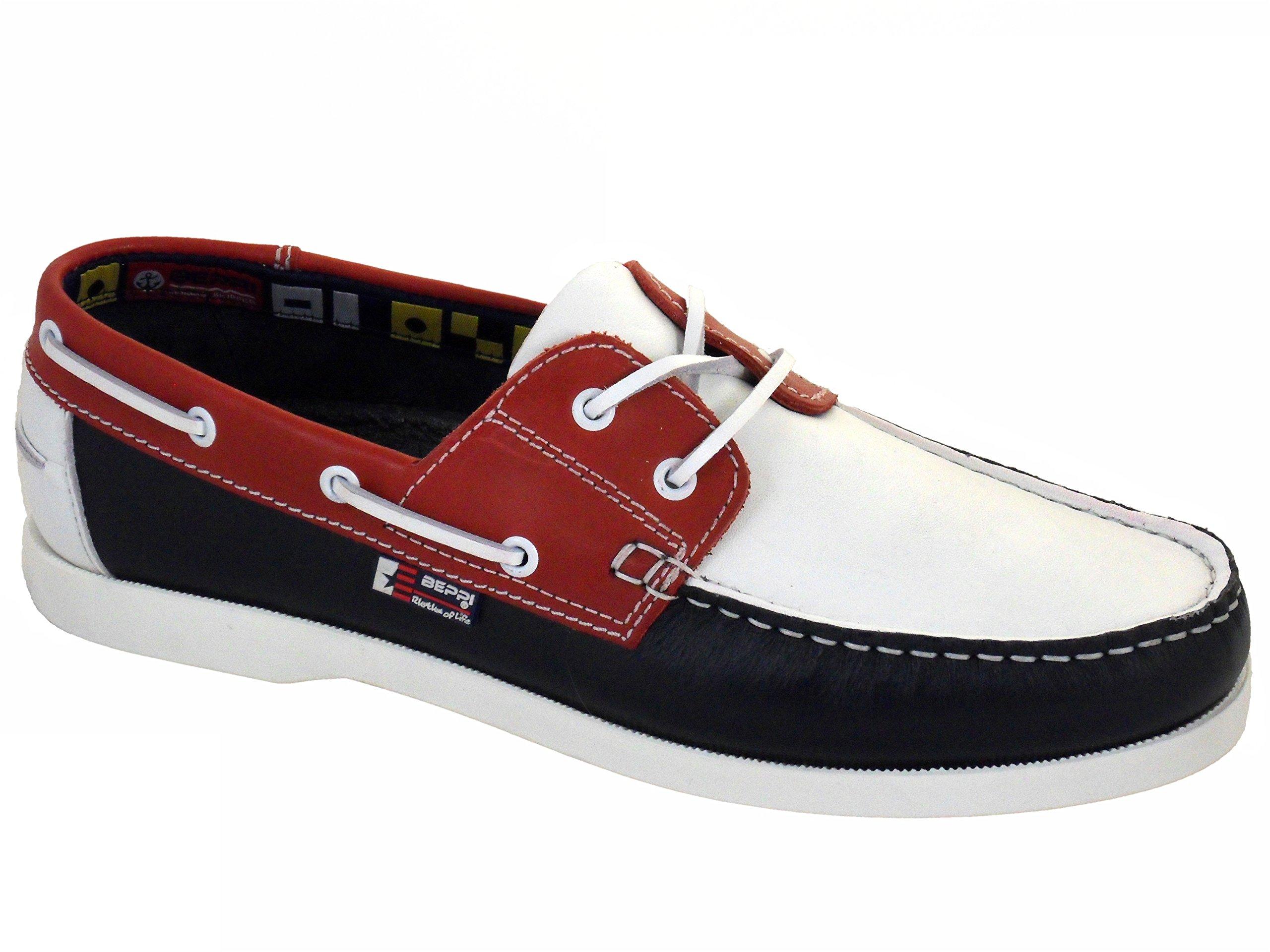 d55a2efe6e71 Beppi Portugiesisch Herren Leder Bootsschuhe Rot Weiß Blau product image