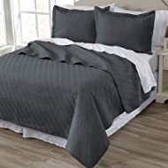 Home Fashion Designs 3-Piece Luxury Quilt Set with Shams. Soft All-Season Microfiber Bedspread and Coverlet in Solid Colors. Emerson Collection Brand. (Full/Queen, Dark Grey)