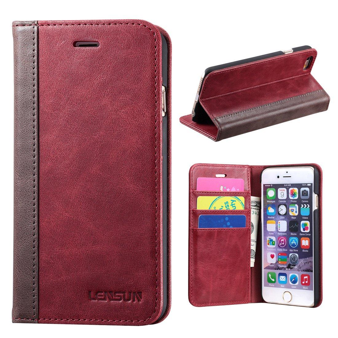c3de2f5458 iPhone 6 Case, Lensun Genuine Leather Wallet Flip Case Cover for Apple iPhone  6 /