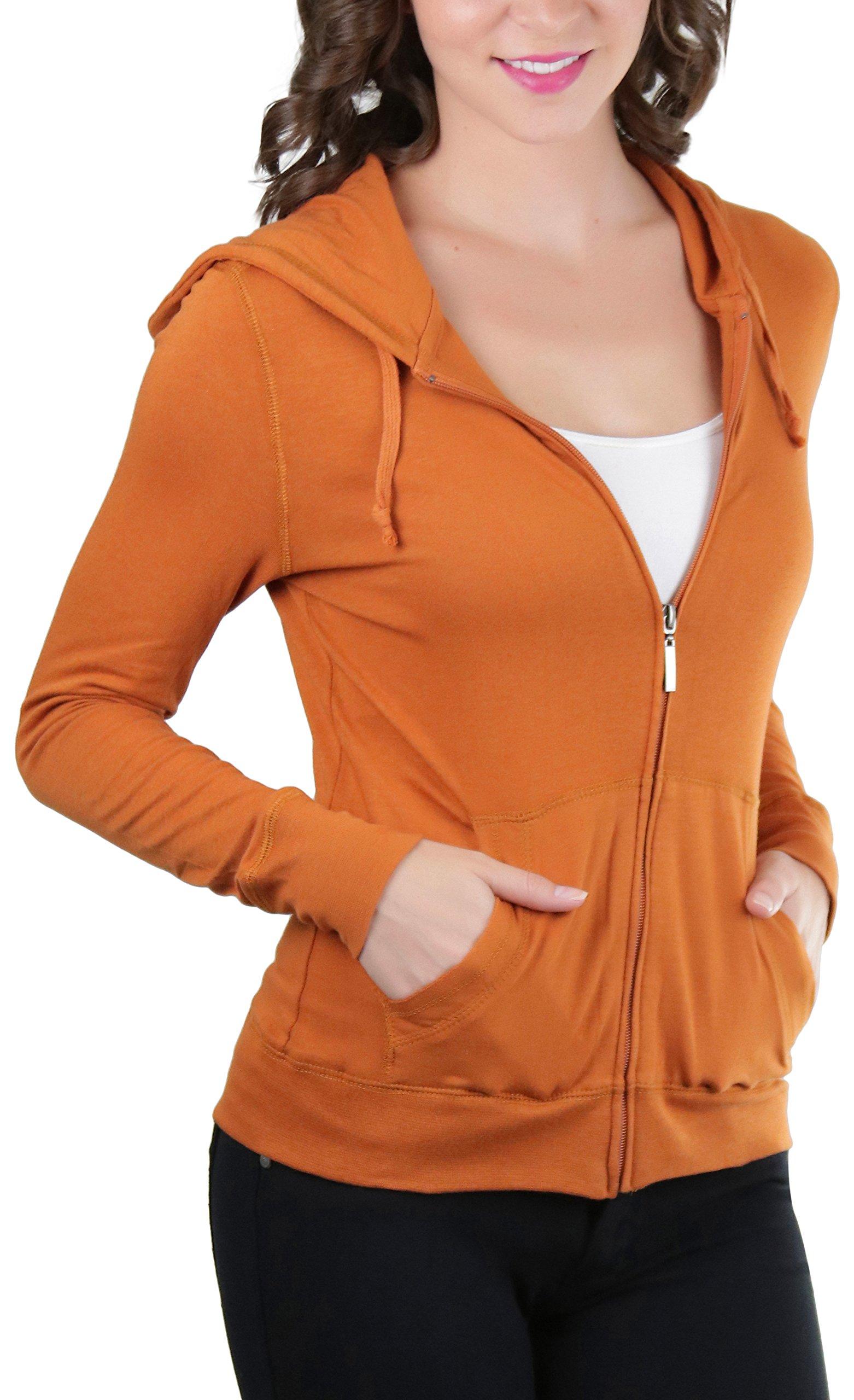 ToBeInStyle Women's L.S. Zip-Up Drawstring Hoodie - Spicy Orange - Small