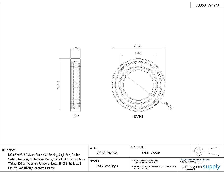 19mm Width 5300rpm Maximum Rotational Speed Double Sealed Steel Cage Single Row Metric 4860lbf Static Load Capacity 45mm ID FAG 6209-2RSR-C3 Deep Groove Ball Bearing C3 Clearance 85mm OD 7460lbf Dynamic Load Capacity Schaeffler Technologies Co.
