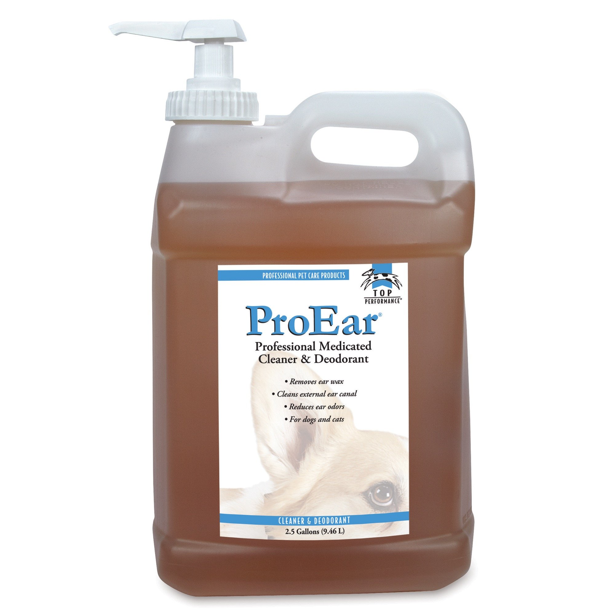 Top Performance ProEar Professional Medicated Ear Cleaners - Versatile and Effective Solution for Cleaning Dog and Cat Ears, 2½ Gallon by Top Performance