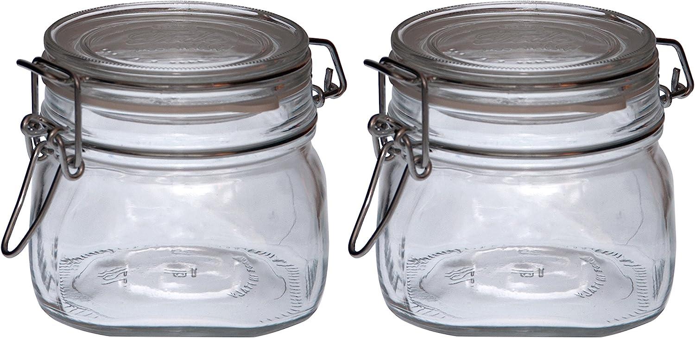 500ml barattolo a filo barattolo ermetico 500 ml COM-FOUR/® 2x barattolo di vetro con chiusura a clip barattoli con anello di gomma
