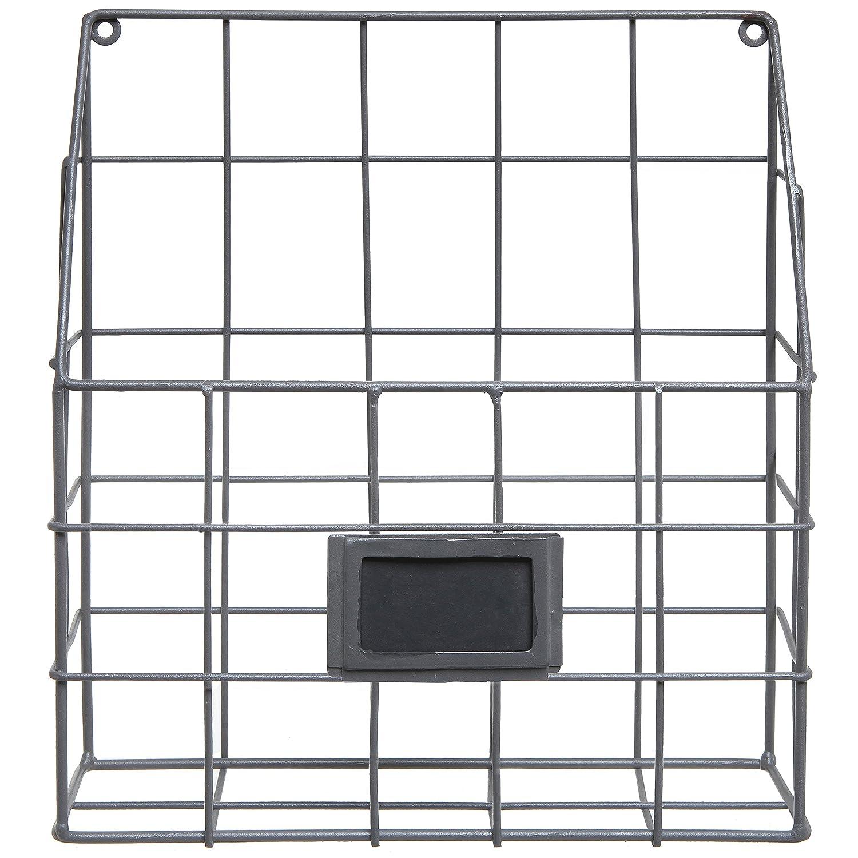 Brown Metal Wire Wall Magazine Rack Bin//Newspaper Rack//Wall Mounted Mail Sorter with Chalkboard Label
