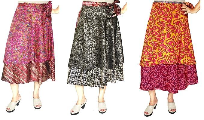 MapleClothing 3 Pcs al por Mayor Porción Dos Capas Sari India Mágico Falda del Abrigo Mujer