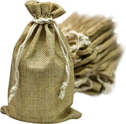 cheap price cheap prices so cheap 50 Burlap Bags with Drawstring, 5x8 Inch (5x7 Internal) Gift Bag Bulk Pack  - Wedding Party Favors, Jewelry and Treat Pouches (Brown)