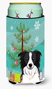 Caroline's Treasures BB1613TBC Christmas Tree and Border Collie Tall Boy Beverage Insulator Hugger, Tall Boy, multicolor