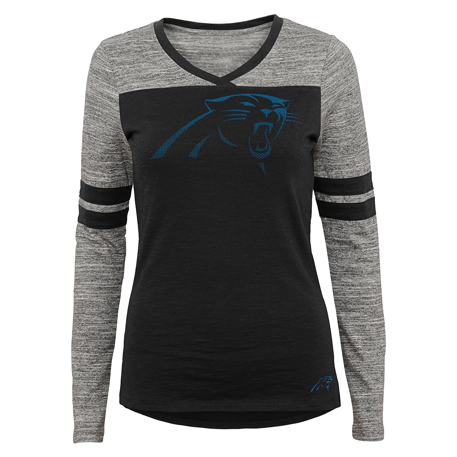 Outerstuff NFL Junior Girls Secret Fan Long Sleeve Football Tee 0-1 Carolina Panthers XS Black