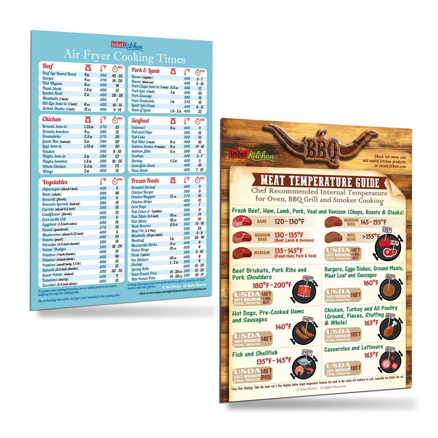 """Cool Kitchen Gift Set: Blue Air Fryer Cooking Times + BBQ Grilling Meat Temperature Guide Magnets (8""""x11"""") Cooking Baking Hot Air Frying Cook Time Chart Recipes Cookbook Cheat Sheet Accessories Easy To Read Big Fonts Gifts for Husband Wife Dad Son"""