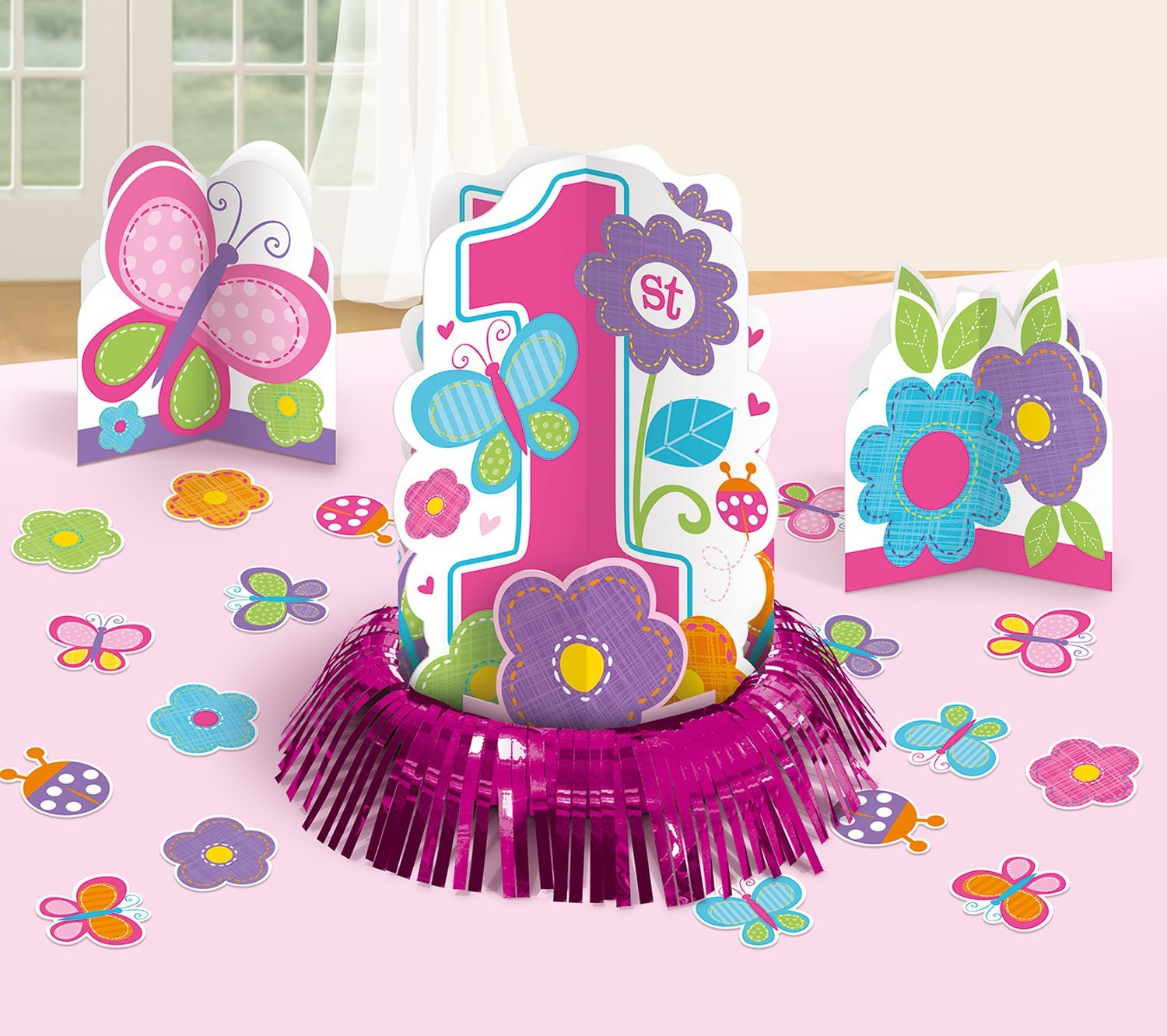 Amazon Amscan Party Supplies Sweet Birthday Girl 1st Table Decorating Kit Multicolor Assorted Sizes 23ct Kitchen Dining