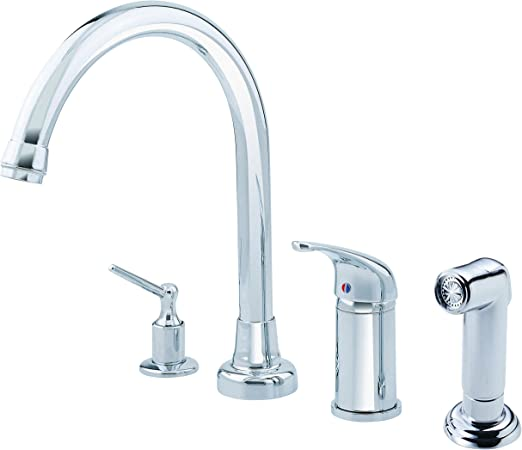 Danze D409112 Melrose Single Handle High-Rise Kitchen Faucet with Side  Spray and Soap Dispenser, Chrome