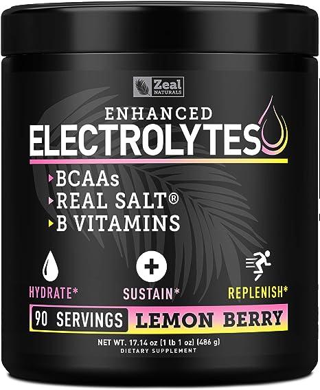 Electrolyte Powder Recovery Drink (90 Servings | Lemon Berry) w Real Salt +BCAAs +B-Vitamins Sugar Free Electrolyte Supplement w Potassium Zinc & Magnesium for Hydration - Keto Electrolytes