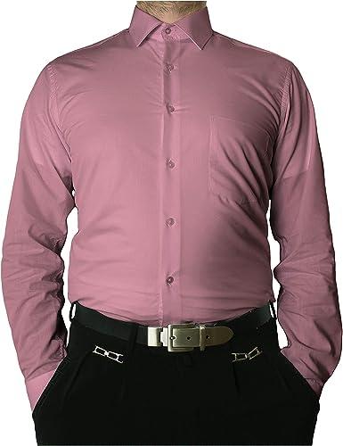 Camisa de manga larga sin arrugas con cuello clásico para hombre, varios colores disponibles morado 50: Amazon.es: Ropa y accesorios