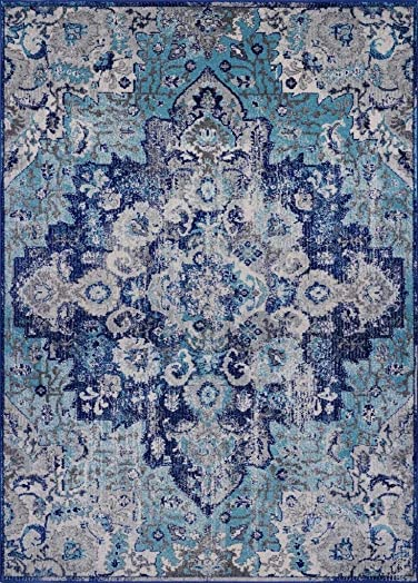 Luxe Weavers Manhattan Collection Oriental 8×10 Blue Area Rug 6334