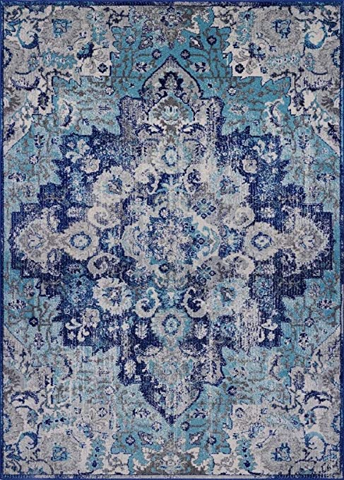 Luxe Weavers Manhattan Collection Oriental 8x10 Blue Area Rug 6334