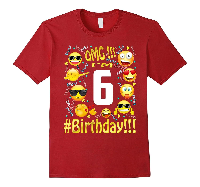 Funny 6 Years Old 6th Birthday Emoji Shirt For Girl Boy 2011-FL