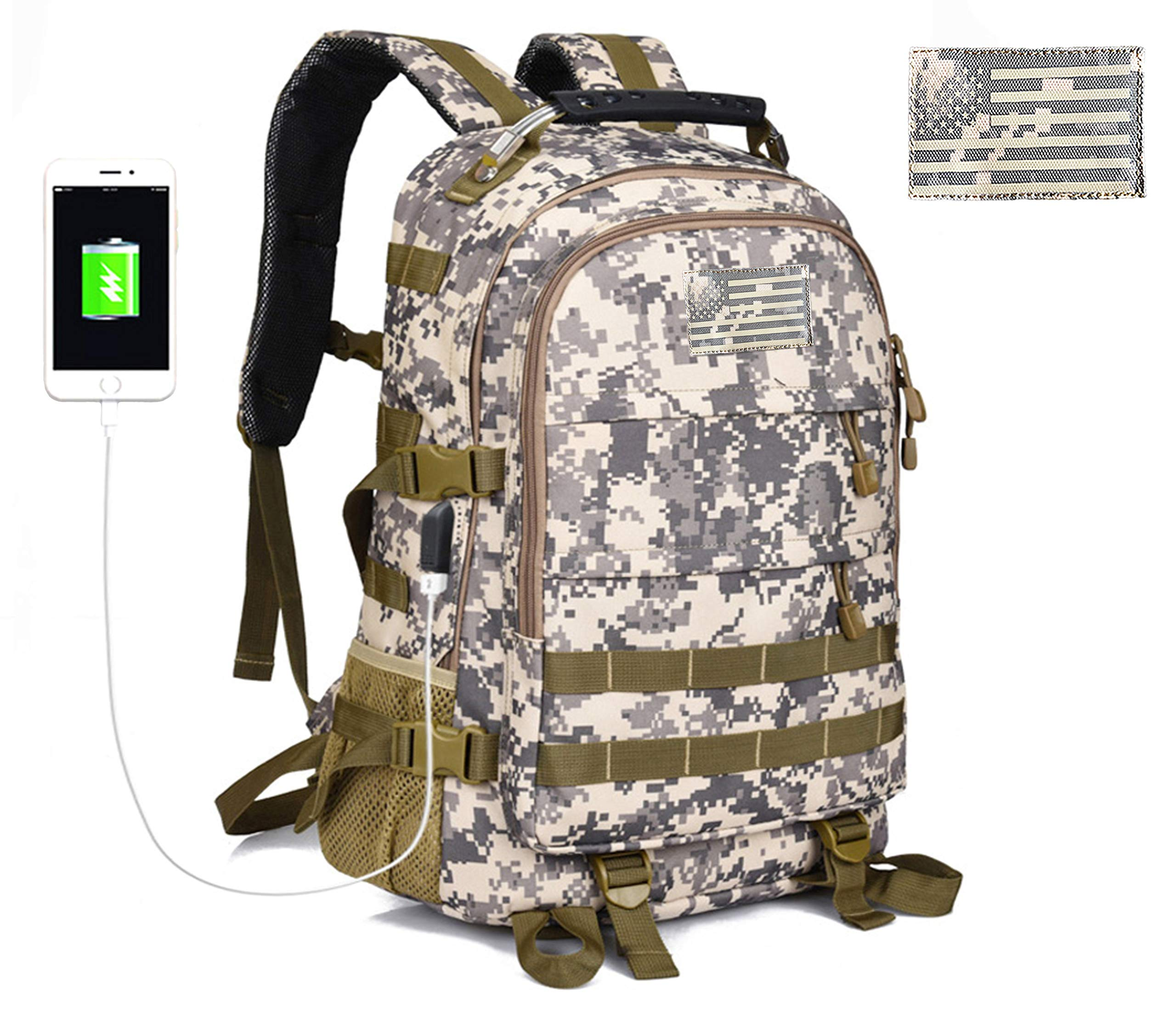 Military Tactical Backpack for Men Outdoor Hunting Backpack Travel Laptop  Bag Assault Pack Army Molle Bug Out Rucksack w USB Charging for Motorcycle 6acf5f2fc1675