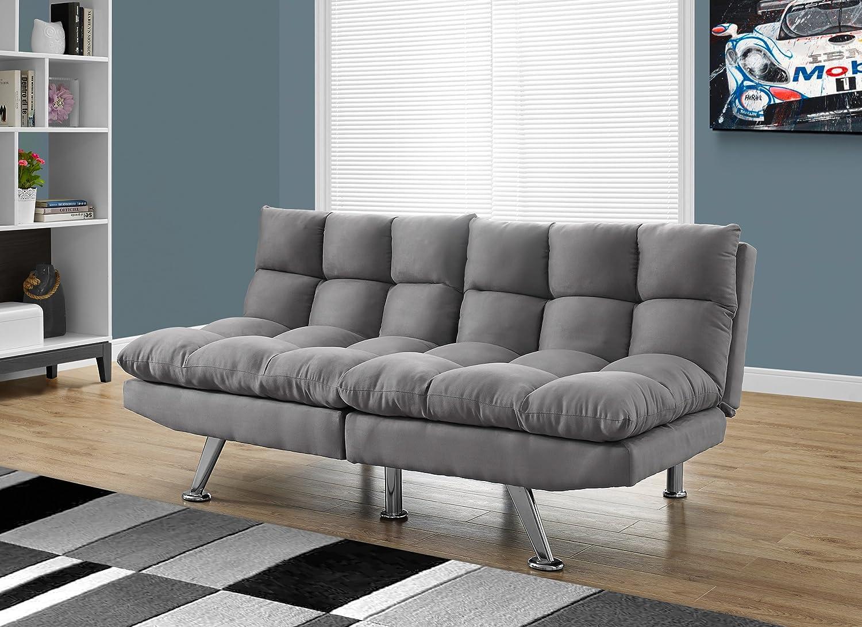 amazoncom monarch specialties i split back click clack light grey micro suede futon kitchen u0026 dining