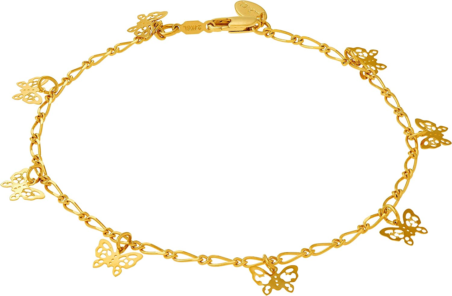 Lifetime Jewelry Butterfly Anklet for Women Men & Teen Girls 24k Gold Plated