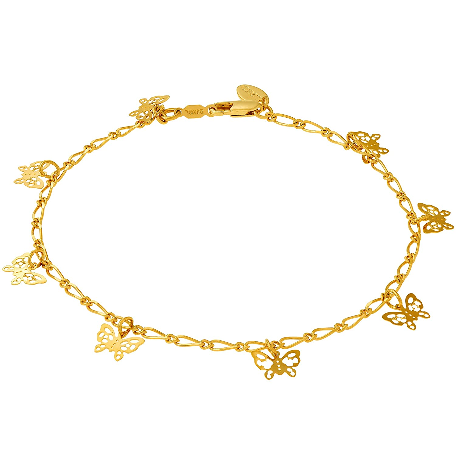 Lifetime Jewelry Butterfly Ankle Bracelet for Women and Teen Girls - 24K Real Gold Plated Cute Durable Anklet - Wear to Beach or Party - Made in USA 9 10 and 11 inches Lifetime Products Group 153