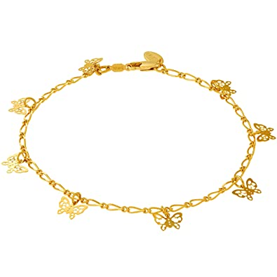6c935f46c28 Lifetime Jewelry 24k Gold Plated Butterfly Ankle Bracelet to Wear at Party  or Beach for Women