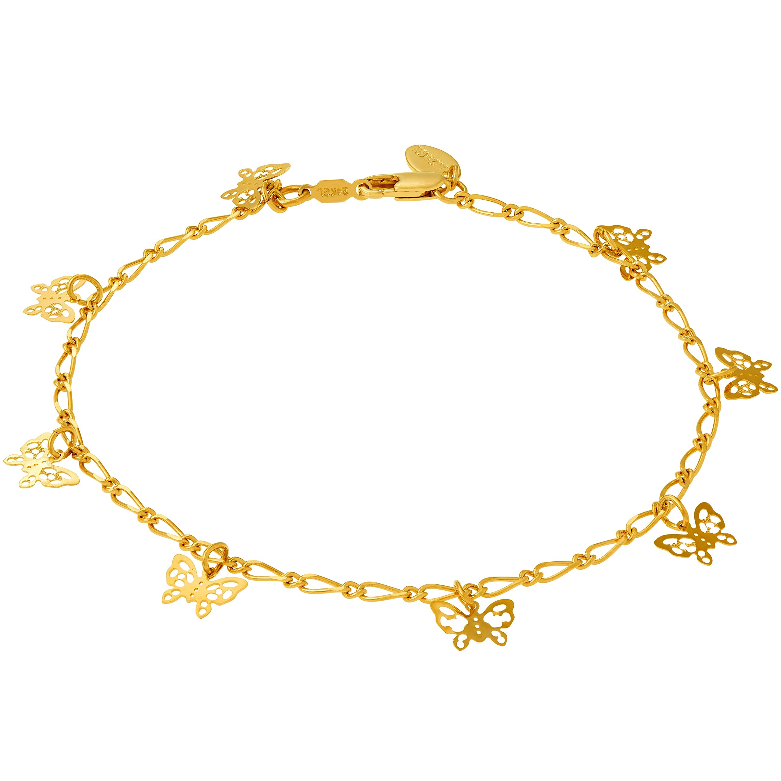 Lifetime Jewelry 24k Gold Plated Butterfly Ankle Bracelet to Wear at Party or Beach for Women and Teen Girls - Cute Durable Anklet - 9 10 and 11 inches - Made in USA (9.0)