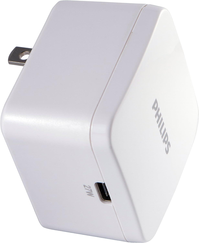 Philips 27W USB-C Wall Charger, 2 Pack, for iPhone 12/11/Pro/Max/XS/XR/X/8, iPad Pro/Air/Mini, MacBook Air, Samsung Galaxy S21/S10/S9/Plus, Google Pixel 5/C/3/2/XL, White, DLP2508Q/37