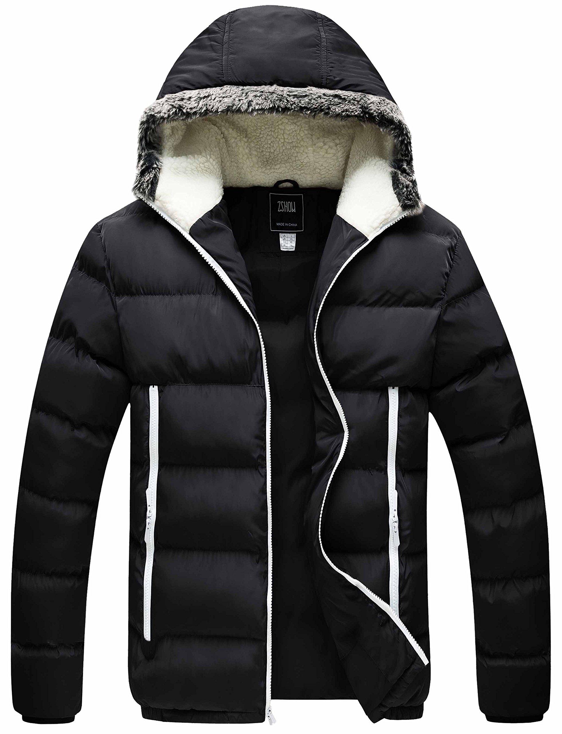 ZSHOW Men's Winter Outwear Hooded Cotton Jacket(Black,X-Large)