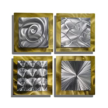Gold Silver Contemporary Metal Wall Art Set Of 4 Panel Modern Home D Cor