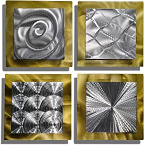 Statements200 3D Metal Wall Art Panels Silver Abstract Accent Decor by Jon Allen