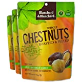 Blanchard & Blanchard Whole Organic Chestnuts Roasted & Peeled 5.29 OZ (3 Pack) Gluten Free, Keto, Low Carb