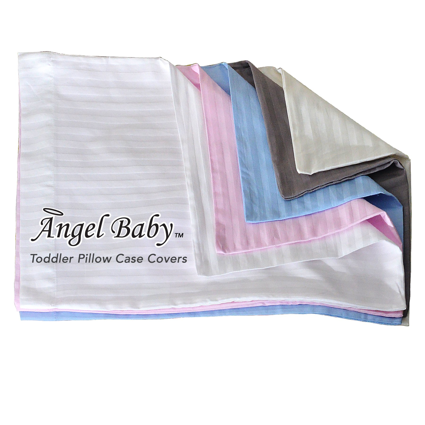 Angel Baby Toddler Pillow Case Cover - GREY, 100% NATURAL Cotton Percale, 400 Thread Count Sateen Weave, Machine Washable, Tumble Dry - for Kids Bedding - (14'' x 20.5'')