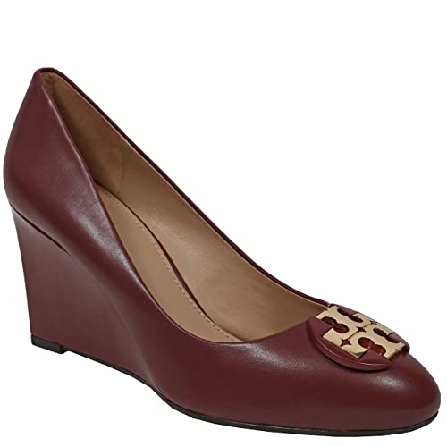 Tory Burch Luna 85MM Wedge Calf Leather Shoes, Red Agate (9 B(M