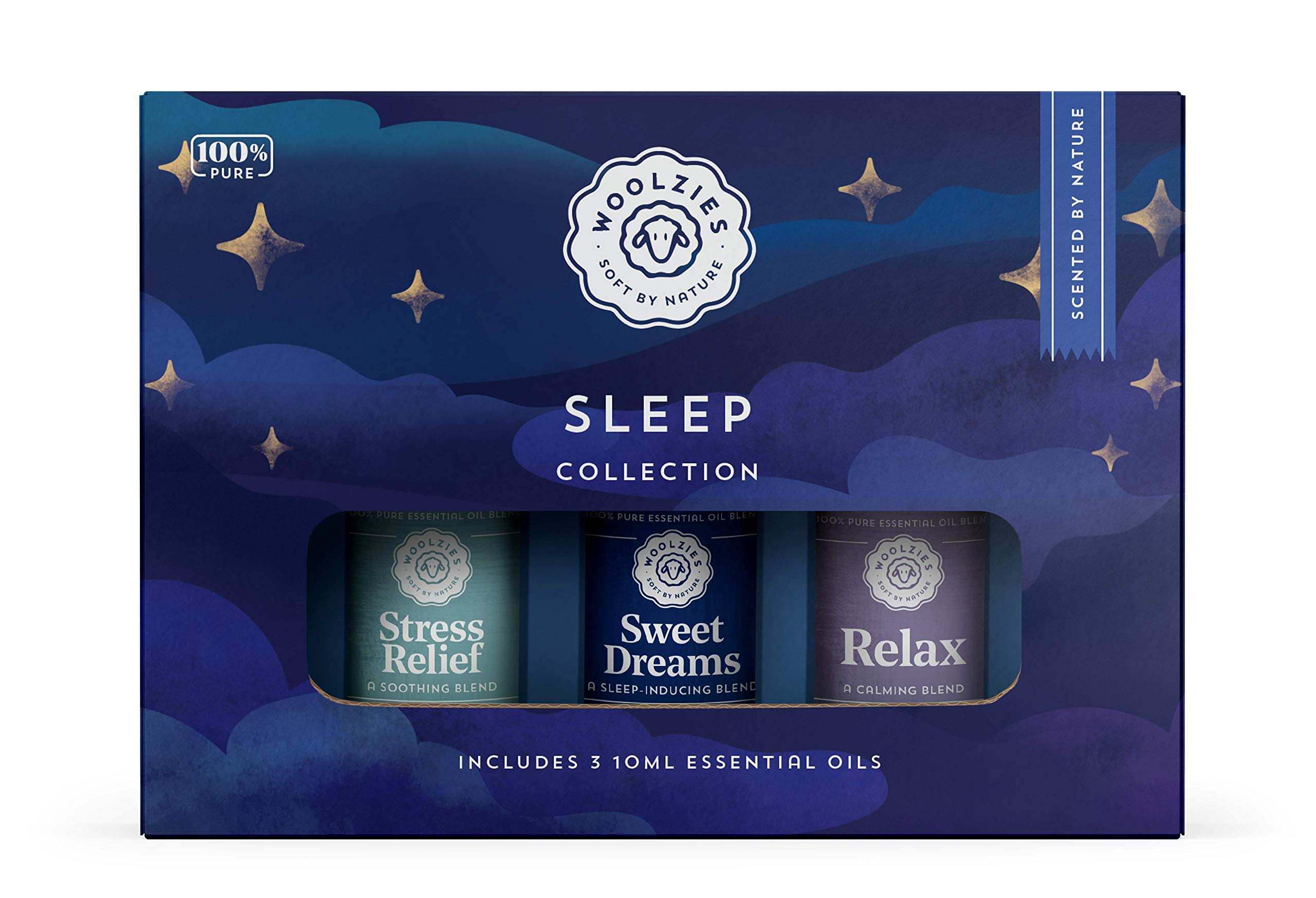 Woolzies Sleep Collection Essential Oil Blend Set | Incl. Sweet Dreams, Relax, & Stress Relief Oils | Helps Sleeping Faster, Better & Restful| Natural Sleeping Aid |Reliefs Stress
