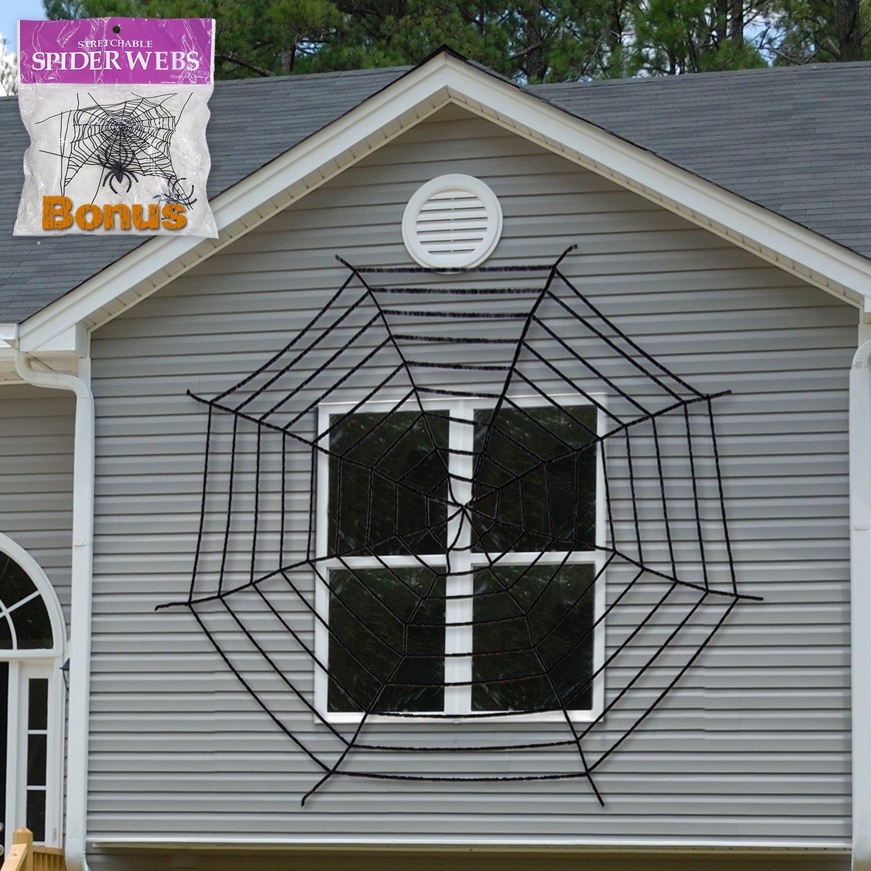 halloween decoration giant spider web window decor with stretch cobweb set black