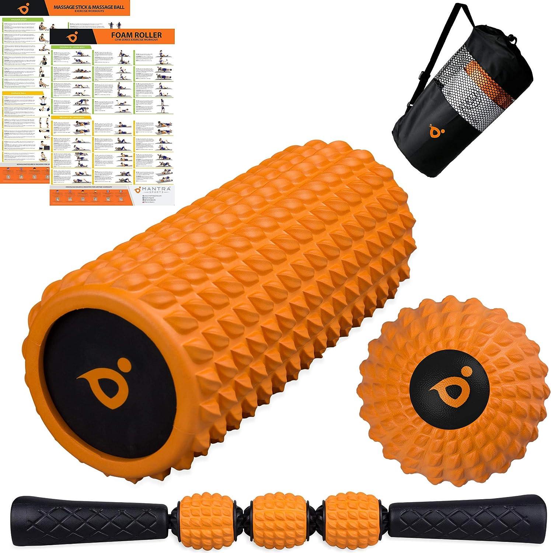 Foam Roller Masaje Kit | Rodillo de Espuma | Rodillo Masaje Muscular Stick | Spikey Lacrosse Pelota de Massager - Trigger Point Terapia Bola Accesorios para Yoga, Pilates, Gimnasio y Deportes en Casa