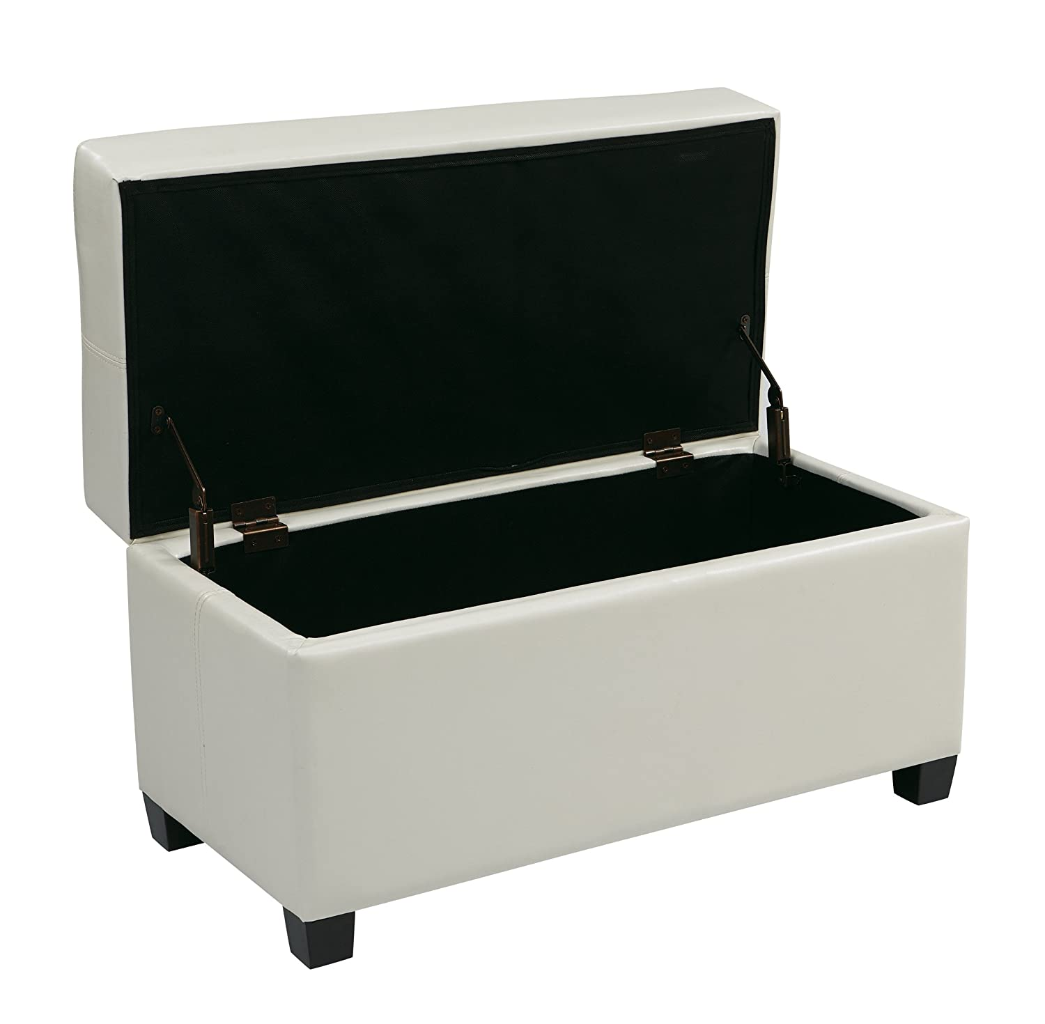 Amazon.com: Office Star Metro Vinyl Storage Ottoman with Espresso Finish  Legs, White: Kitchen & Dining - Amazon.com: Office Star Metro Vinyl Storage Ottoman With Espresso