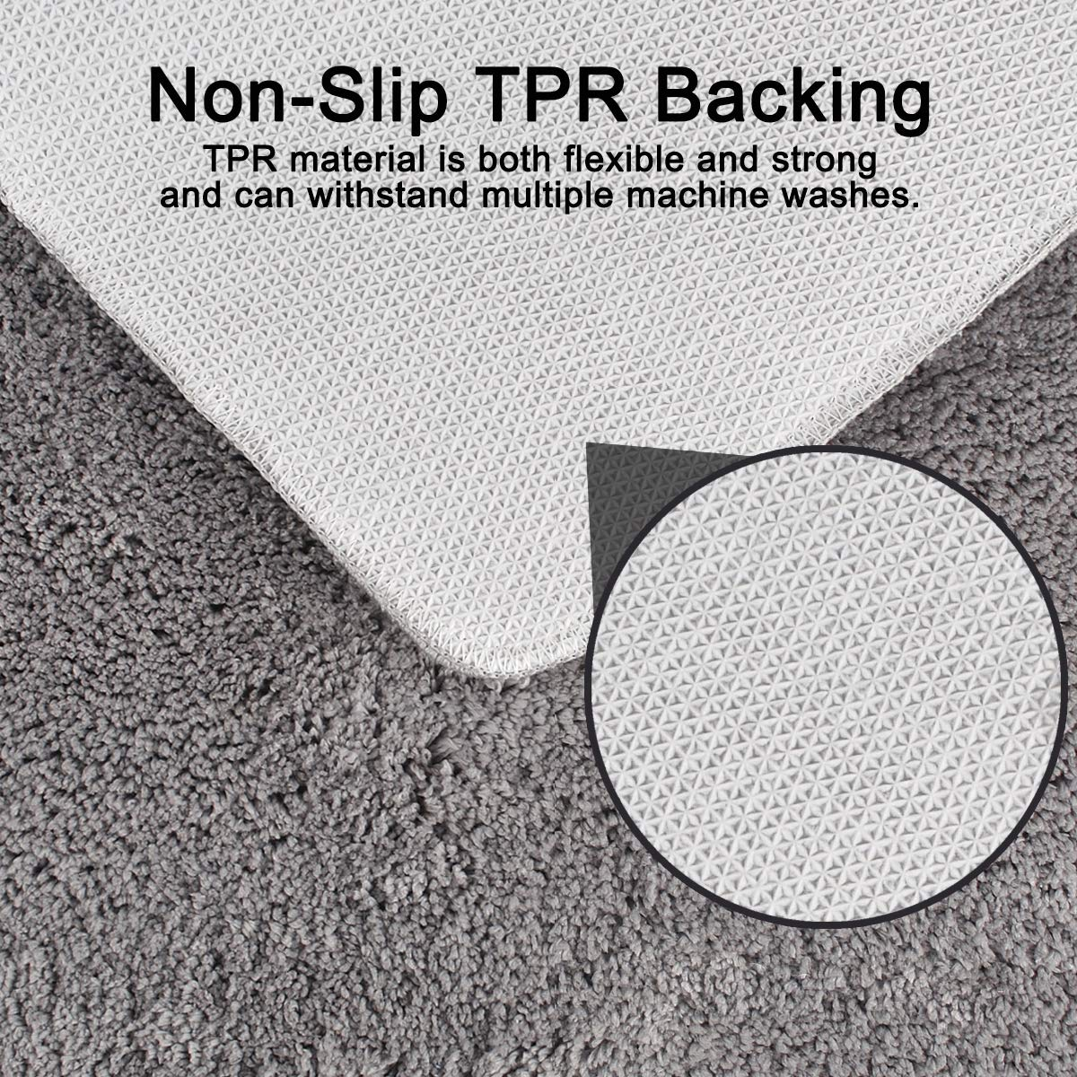 Bathroom Rugs 2-Pack TPR Non-Slip Bath Mat Water Absorbent Microfiber Plush Carpet Shaggy Floor Mat for Tub Shower Kitchen Balcony 27.6x16.9in