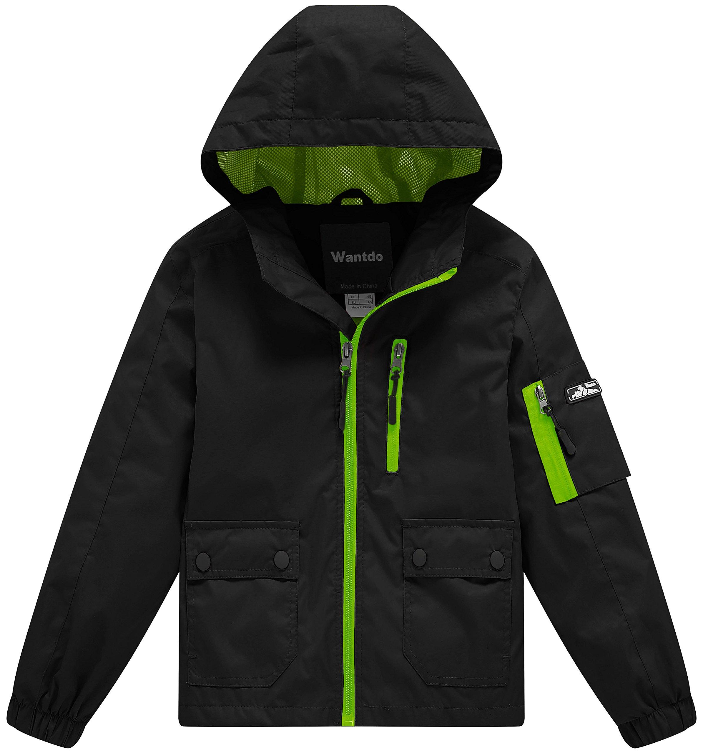 Wantdo Boy's Lightweight Hooded Rain Jacket Waterproof Outwear with Zipper for Running(Black, 10/12)