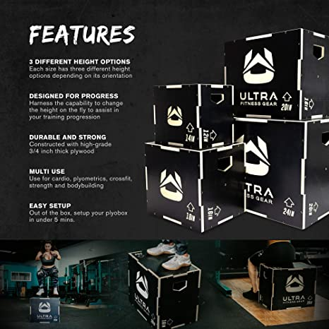 Amazon.com: Ultra Fitness Gear 3 en 1 caja de madera ...