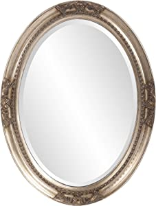 Howard Elliott Queen Ann Oval Hanging Wall Mirror, Beveled, Vanity, Antique Silver Leaf, 25 x 33 Inch