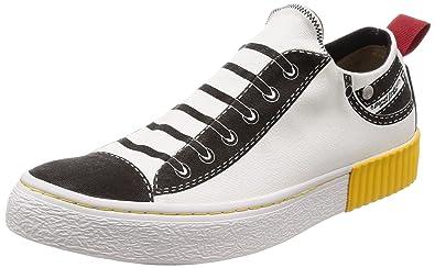 0208f4568795b Diesel Men's S-IMAGINEE Low ON-Sneakers, White/Black 7.5 ...