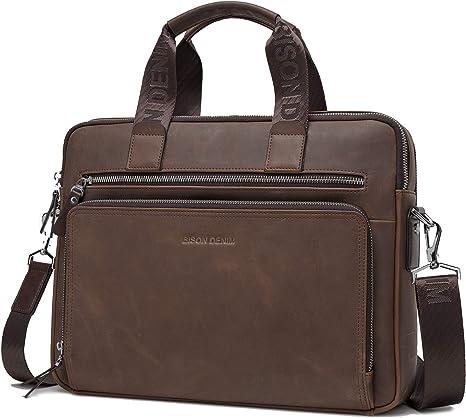 Men/'s Leather Shoulder Messenger Bags Business Work Bag Laptop Briefcase Handbag